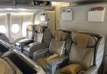 Cabine business d'un Airbus A330 Asiana